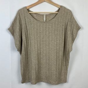 Tops - woven knit tan boat neck tee